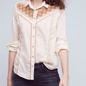 Anthropologie holding horses embroidered shirt